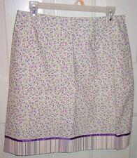 Etcetera Purple Pink Flowers Stripe Ribbon Trim 8 Straight Short Cotton Skirt