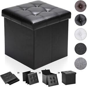 Hocker Sitzhocker Sitzwürfel Stauraum Aufbwahrungsbox Weiß//Grau