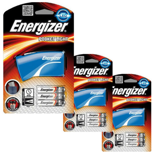 3 x Energizer LED Pocket Light Torch Flashlight 6 x AAA Batteries Inc Blue