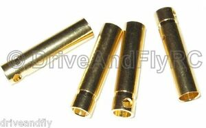 Great-Planes-Gold-Plate-Bullet-Connector-Female-4mm-4-pcs-4x-Set-of-4-GPMM3115
