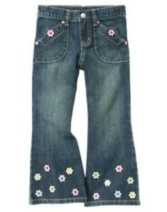 GYMBOREE SHOWERS OF FLOWERS DENIM FLOWER BUTTON FLARE JEANS PANTS 10 12 NWT