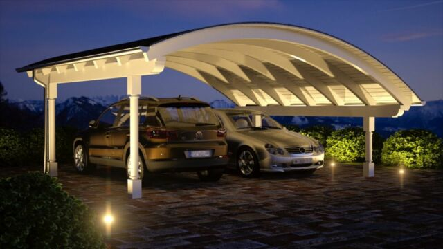 Bogen Carport 6.00 x 6.00 mit 33% Onlinerabatt Premium Design Carports ab Werk