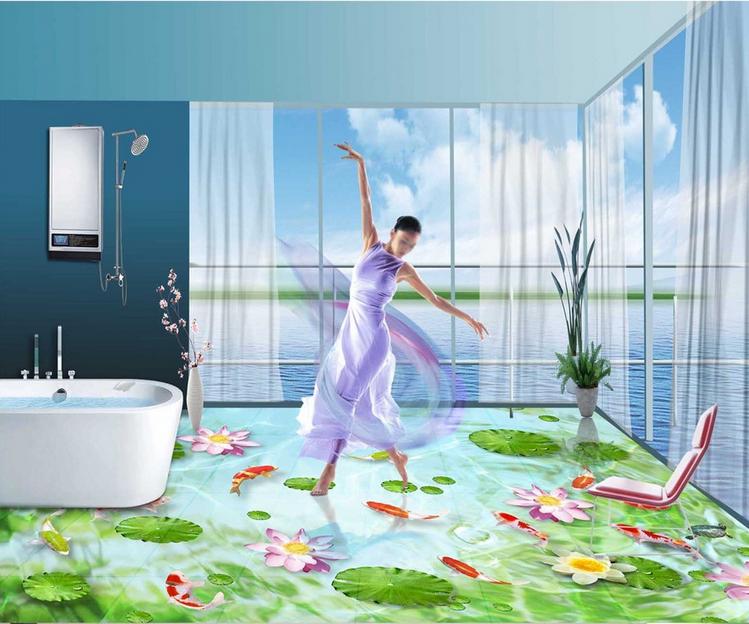 3D Water Grün leaf 2533 Floor WallPaper Murals Wall Print Decal 5D AJ WALLPAPER