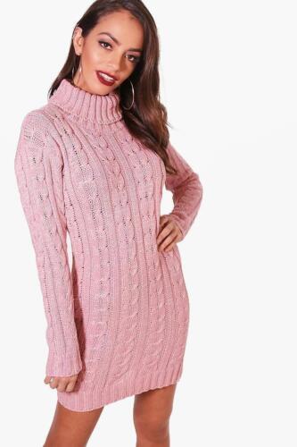 Signore grosso cavo maglia polo da donna vestito abiti di moda inverno