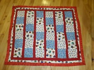 "Handmade Circus Animal Red Fleece Baby Blanket 43"" x 50"" Quilt Style Unisex"