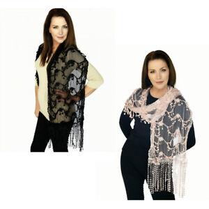 Casaba-Womens-Formal-Lace-Crochet-Scarves-Scarf-Shawl-Church-Bridal-Fringe-Sheer