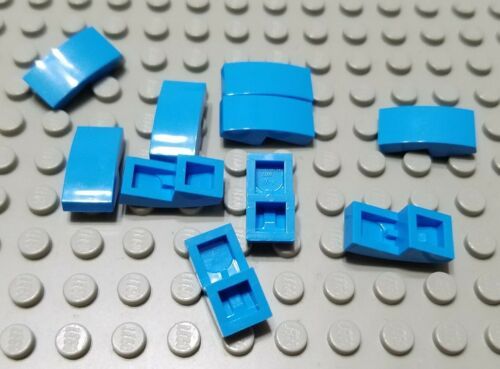 New LEGO Lot of 10 Dark Azure 2x1 Curved Slope Pieces