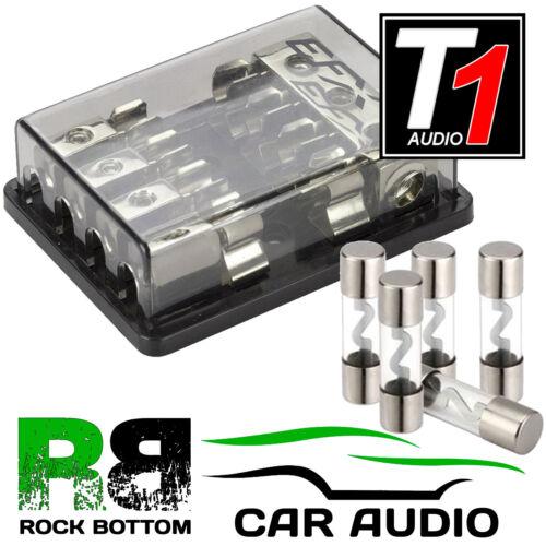 T1 4 a 8 AWG Coche AMP Amplificador 4 fuentes de alimentación distribución bloque 4 AGU fusibles de 80