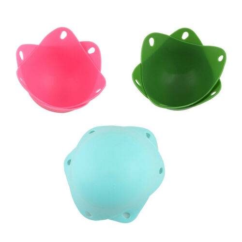 2PCS Silicone Pocheuse Tasses avec Anneau Support Oeuf Cuisson Outils Random Color