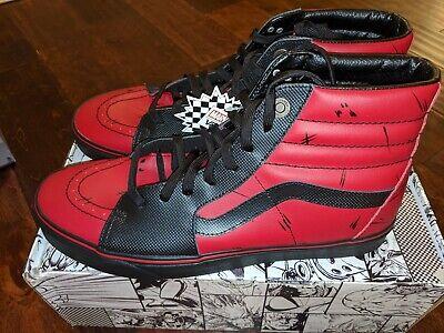 Vans x Marvel Deadpool Red/Black Sk8 Hi Sneakers Mens NEW RARE   eBay