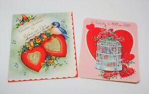 VTG-40-039-s-50-039-s-Valentine-039-s-Day-Folded-Card-Lot-of-2-MOM-amp-DAD-Designs-Ephemera