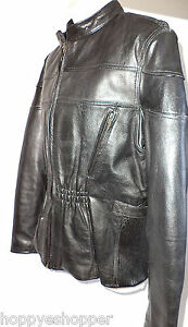 Black-Leather-Gallery-Biker-Motorcycle-Jacket-Zip-Off-Liner-Unisex-size-L-YKK