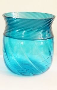 "VENINI Murano Art Glass Vase signed 1996  8"" x 8""  Hand Made in Italy"
