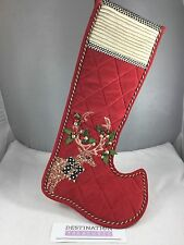 MacKenzie Childs Jeweled Deer Christmas Stocking NIP XL Beads Courtly Check
