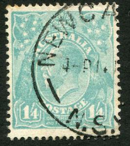 KGV-CofA-Wmk-1-4-Greenish-Blue-FU-Single-with-variety-Unlisted-in-BW