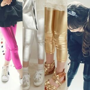 03c9ea735 Kids Baby Girl Metallic Shiny Skinny Long Cropped Pants Leggings ...