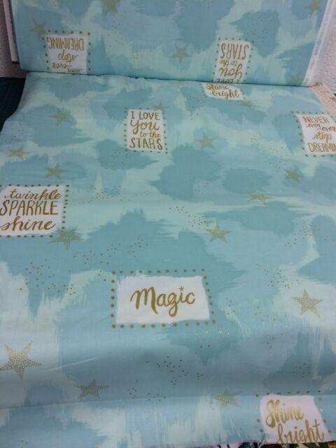 Metallic You Are Magic Aqua  Michael Miller Fabric FQ or More 100/%Cotton