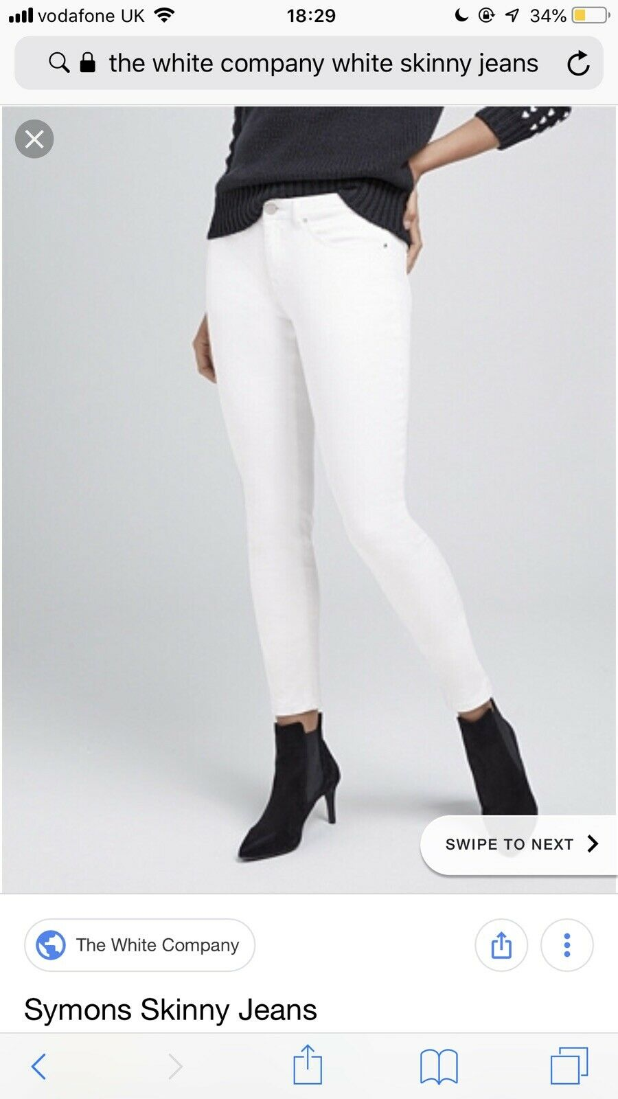 The White Company Skinny Jeans - White - Size 12 - Stretchy Trousers Pants