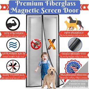 Premium White Magnetic Screen Door With Grey Fireproof Fiberglass