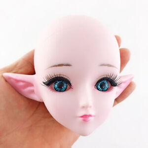 1//3 Doll Makeup Head Blue Eyes For 60cm BJD Doll Repair Supplies Flesh-color