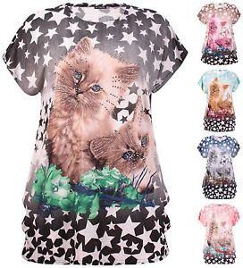 femmes-grande-taille-Haut-Paillette-chat-felin-Imprime-Animal-mancheron-T-Shirt