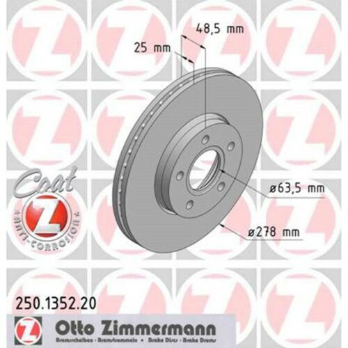 2 Zimmermann Bremsscheiben Ford Focus C-Max Volvo C30 S40 V50 278mm belüftet