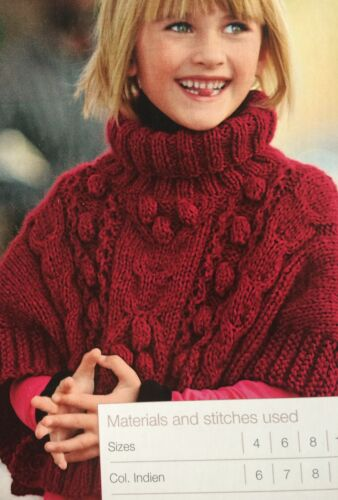 Knitting Pattern age 4-12 years Girls Cable Poncho