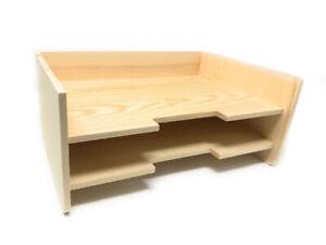 a basso prezzo 84f4c ed4d5 Dettagli su Portadocumenti in legno 2 ripiani organizer scrivania per  decoupage da ufficio