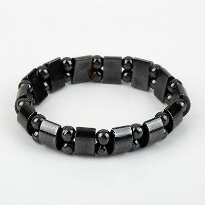 Fashion Black Magnetic Hematite Healing Mens Womens Loose Beads Bracelet GA