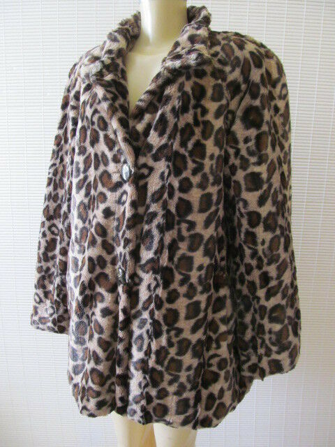 DENIS BASSO BASSO BASSO ANIMAL PRINT LONG SLEEVE FAUX FUR COAT SIZE M - NWT da1600