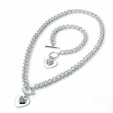 """Stunning 18"""" silver tone crystal heart charm T bar chain necklace & bracelet set"""