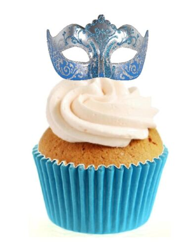 Sparkle Masquerade Mask Blue 12 Edible Stand Up wafer paper cake toppers