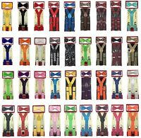 Suspender Bow Tie Matching Colors Sets For Boys Girls Kids Child Toddler