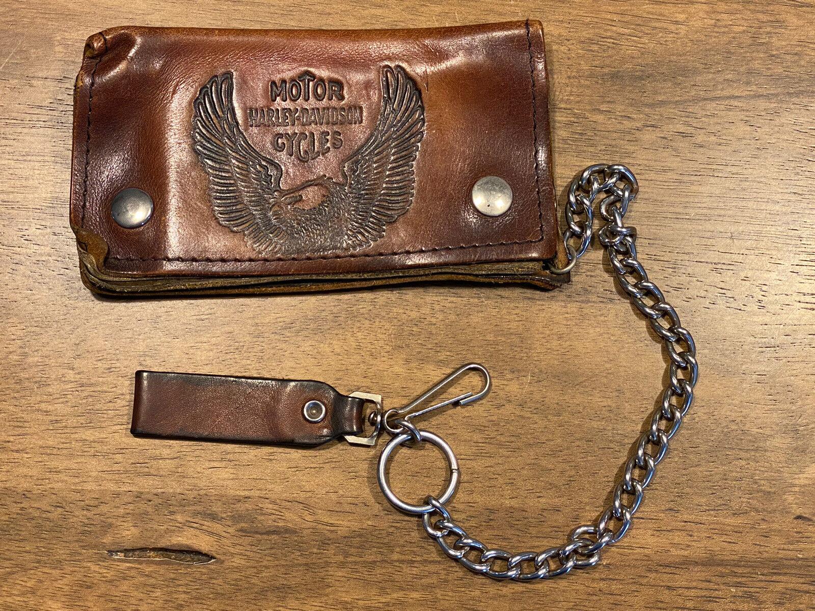 Vintage 1970s Harley Davidson Chain Wallet Brown Leather Trucker Biker
