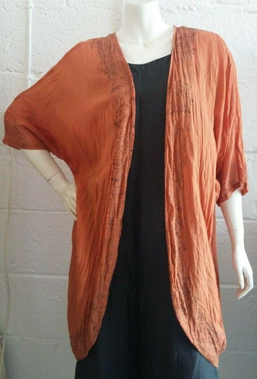 Unique Handmade Block Print Orange Crinkle Muslin Kimono   Öffnen Hemd  UK S-M