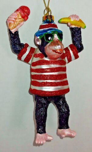 Blown Glass Monkey Gorilla Cool Sunglasses banana  Christmas Ornament New