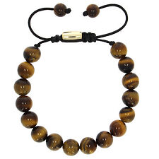 Natural Gemstone Tiger's Eye Bead Pull Tied Shamballa Bracelet with Metal Spacer
