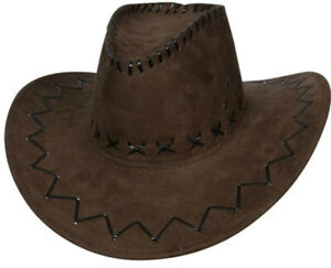 ADULTS  BROWN TOP HAT FANCY DRESS  COWBOY UNISEX SUEDE LOOK WILD WEST