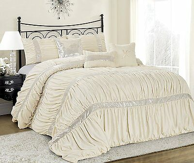 7 Piece CLARAITA Chic Ruched Pleated Comforter Set-Queen King Cal.King Size Que