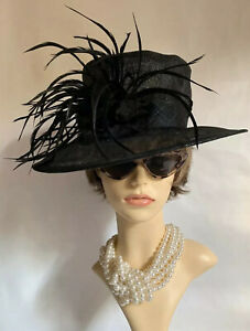 Marks-And-Spencer-Sinamay-Straw-Black-Dress-Hat-Flower-amp-Large-Feather-Detail