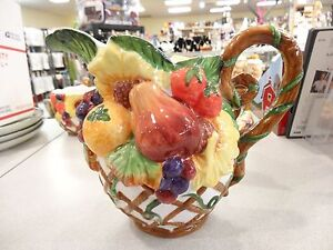 BEAUTIFUL VNTG 3D PITCHER Ceramic FRUIT DESIGN ART POTTERY SUNFLOWER,APPLE,PEAR,
