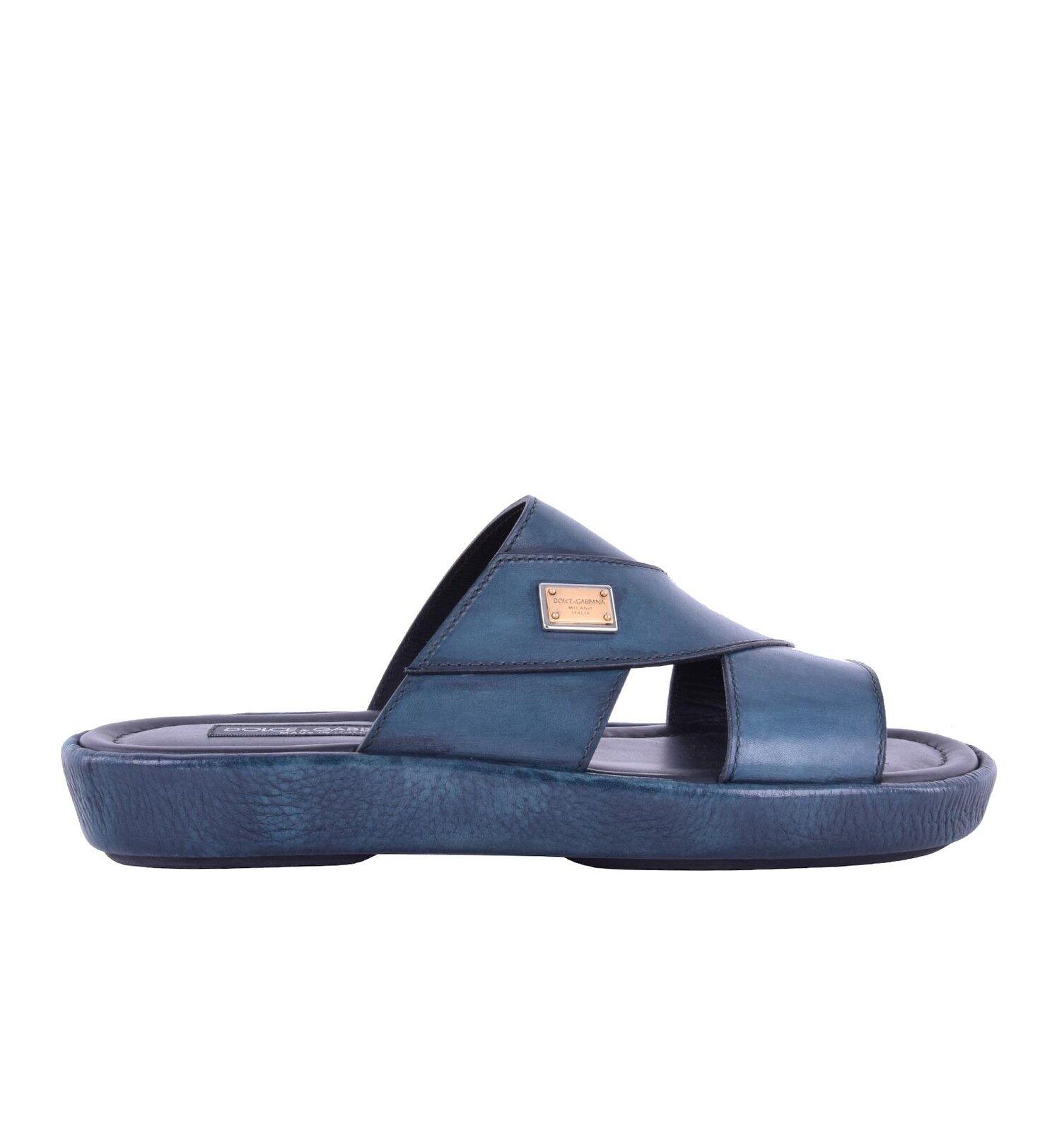 DOLCE & GABBANA Leder Sandalen MEDITERRANEO mit Logo Grün Schuhe Sandals 05217