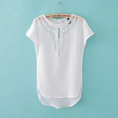 Fashion Women Loose Casual Short Sleeve Chiffon T-shirt Tops Summer Vest Blouse