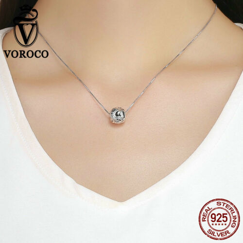 Voroco 925 Sterling Silver Bead Charm Blossom With White CZ For Bracelet Chain
