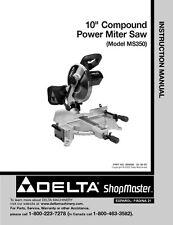 "Delta Shopmaster MS350 10"" Compound Power Miter Saw Instruction Manual"