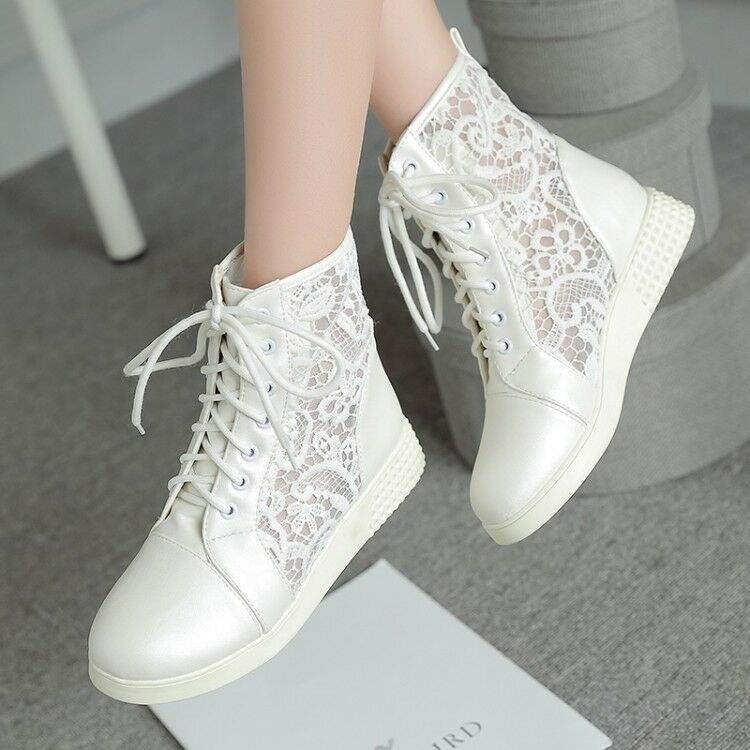 Damenschuhe Mesh Hollow Out Low Wedge Heel Ankle Stiefel Lace Up Schuhes US4.5-10.5 Größe