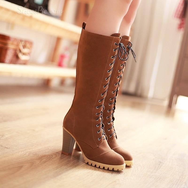 botas stivaletti zapatos tacco 8 lacci beige pelle sintetica comodi caldi  9155