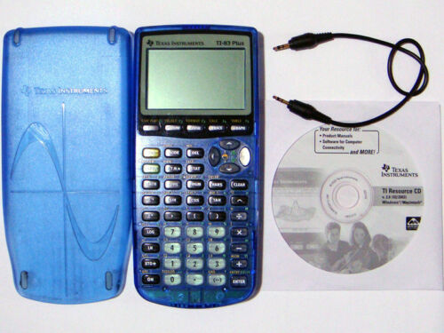 Texas Instruments TI-83 Plus CLEAR BLUE Calculator TI83 Limited Edition Blue
