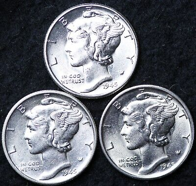 BU 1942 PDS  Set of three Mercury Dimes Almost Uncirculated 90/% Silver Coin AU