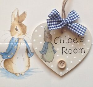 Details about Personalised Heart Decoupage Plaque Bedroom Sign Girl Boy  Baby PETER RABBIT Room